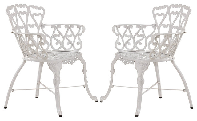 Superb Antique Victorian Cast Aluminum Patio Dining Chairs White Heart Set Of 2 Beutiful Home Inspiration Aditmahrainfo