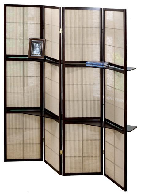 Monarch Specialties Folding Screen 4 Panel Cappuccino 2 Shelves I4624