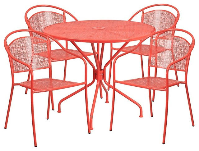 Flash 35.25 Round Coral Indoor/outdoor Steel Patio Table Set With 4 Back Chair.