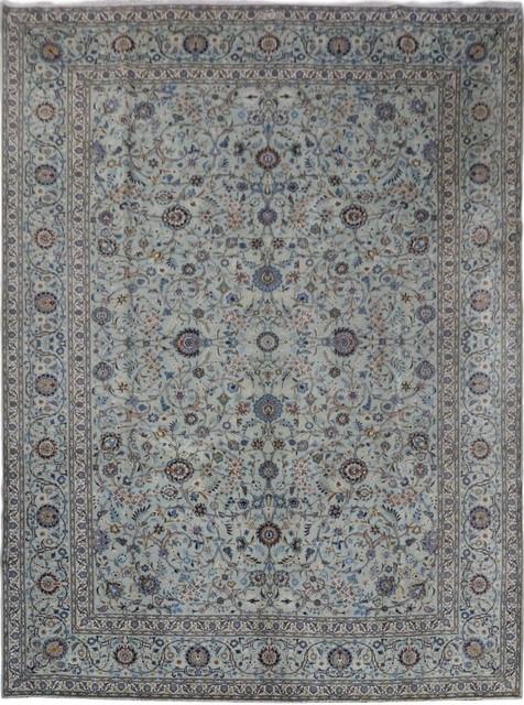 Consigned Traditional Rug Gray 11 X14 Kashan Handmade Wool