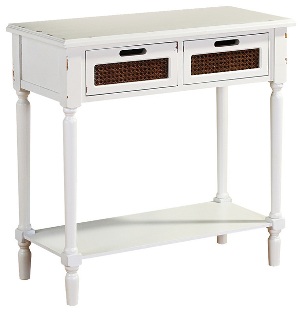 Culver Distressed Vintage Console Table, White