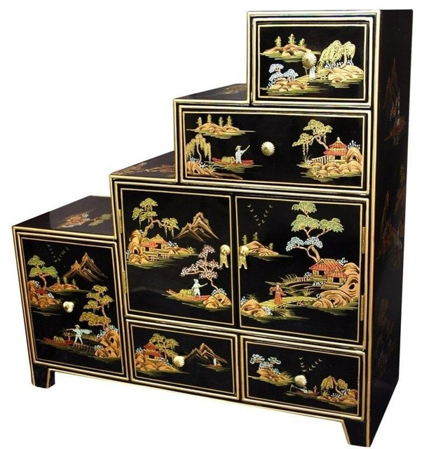 Oriental Furniture Black Step Tansu Rich Asian Accent Chests And Cabinets By Homesquare