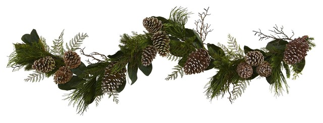 Silk Flowers -6 Inch Pine Cone And Garland Artificial Plant.