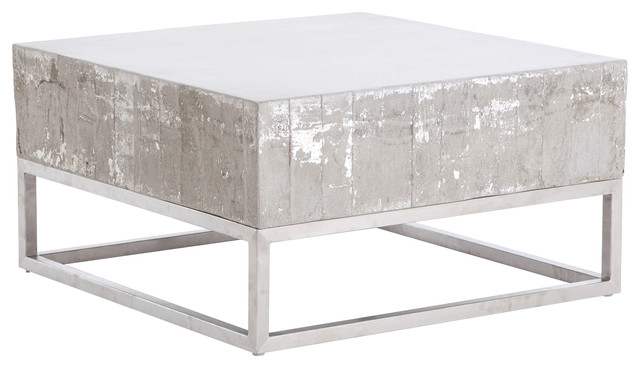 Lorraine And Chrome Coffee Table Concrete Natural White Wash - Concrete and chrome coffee table