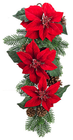 Silk Plants Direct Poinsettia And Pine Cone Door Swag, Pack Of 2.