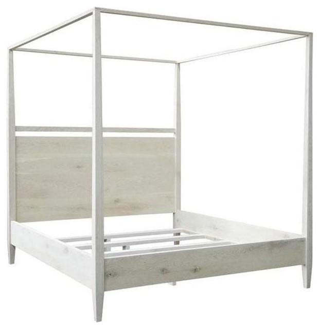 4-Poster Modern Bed, White, Cal. King.