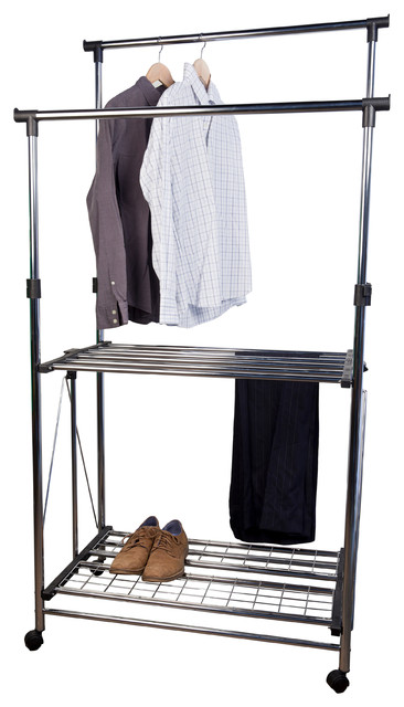 Folding Telescopic Double Garment Rack Industrial