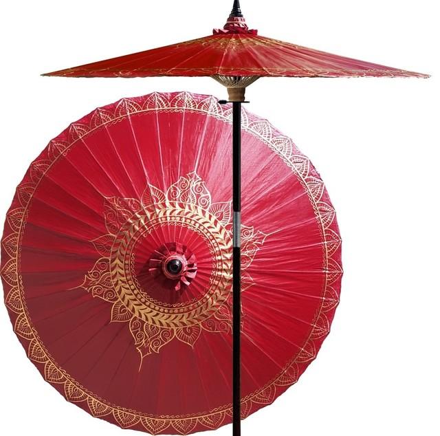 Siamese Dream Outdoor Patio Umbrella, Oxblood Red