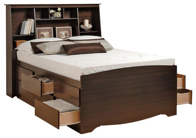 Prepac Manhattan Tall Twin Bookcase Platform Storage Bed In Espresso Finish Kids Beds