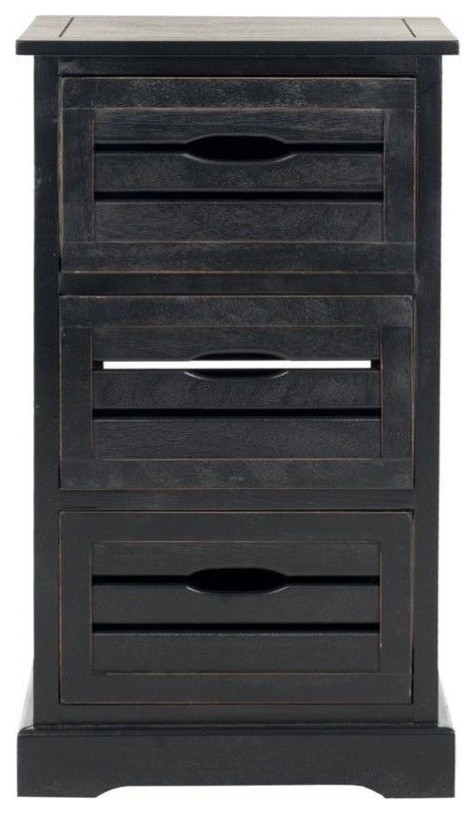 Hawthorne Collection Pine 3 Drawer Cabinet in Black