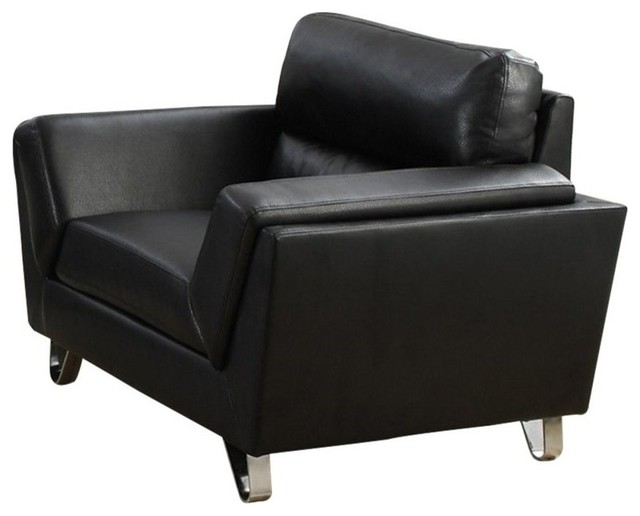 Bowery Hill Leather Chair, Black by Bowery Hill