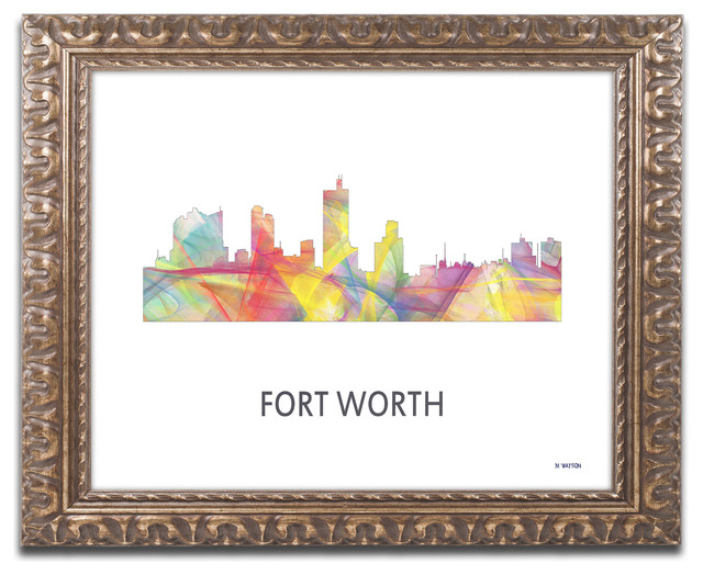 39 Fort Worth Texas Skyline Wb 1 39 Ornate Framed Art Contemporary Prints And Posters By