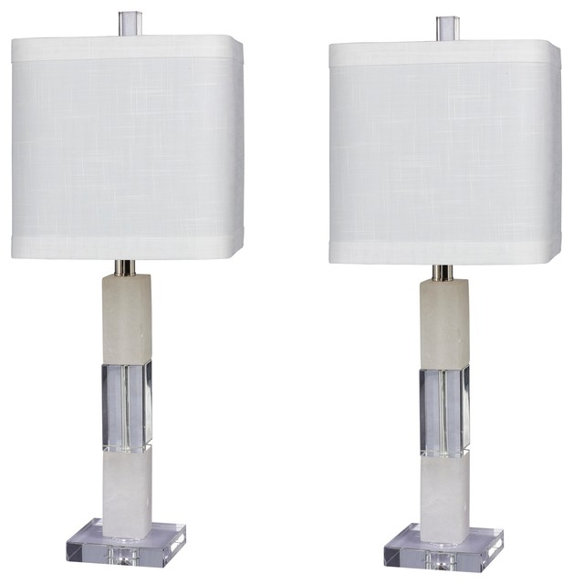 "Stacked Block Table Lamps, Clear Crystal & Snow Marble, Set Of 2, 26""."