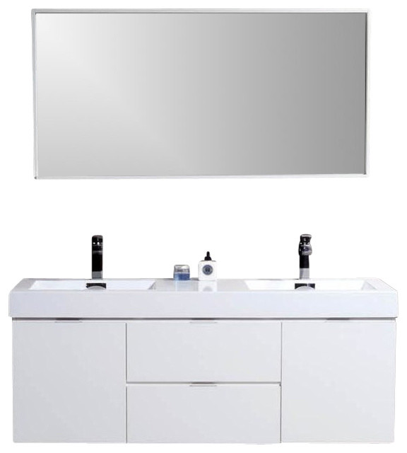 bliss white wall mount double sink modern bathroom vanity aqua piazza mounted vanities without tops units base