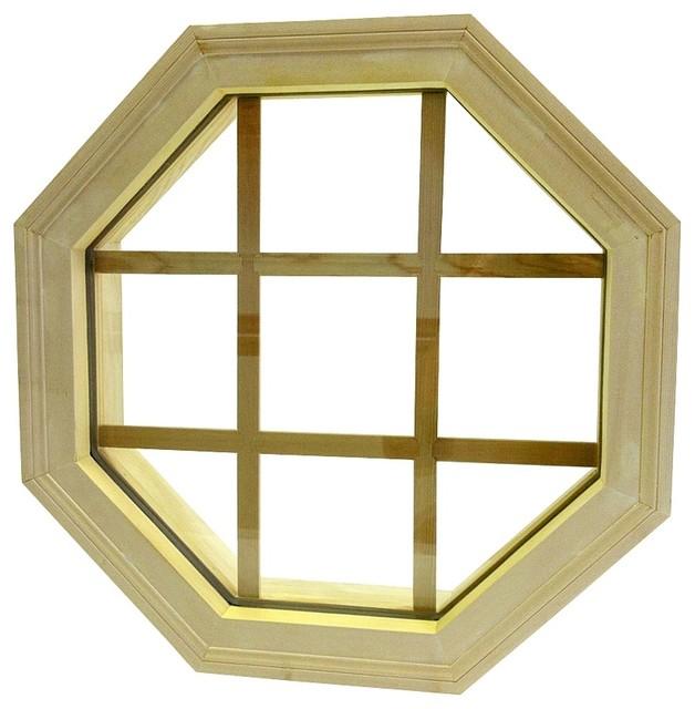 Wood Mitered Octagon Window, 24x24.