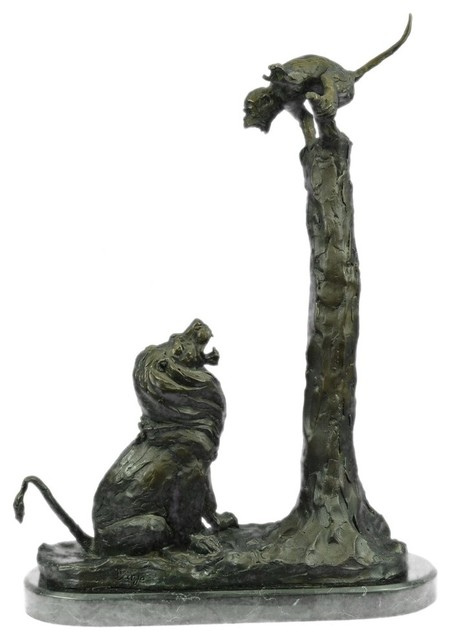 Bronze Figurines For Sale large sculpture monkey on a tree yelling at a lion bronze sculpture