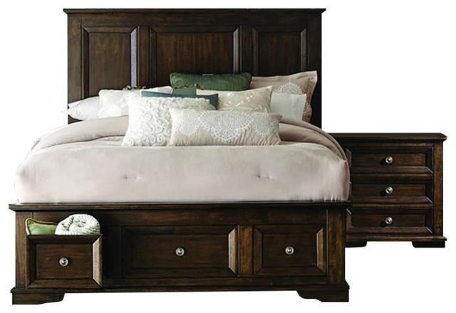 Homelegance Eunice 2 Piece Platform Bedroom Set With Storage Footboard