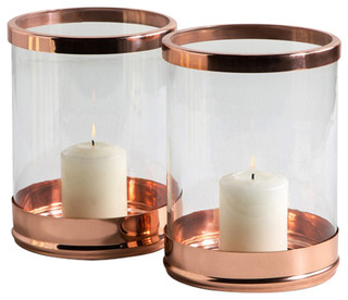 Interlude Home Arbor Grand Rose Gold Hurricanes, Set of 2