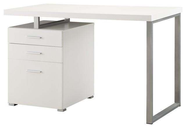 Elegant Home Office Writing Desk With 3 File Drawers, Reversible Set Up,  White Desks