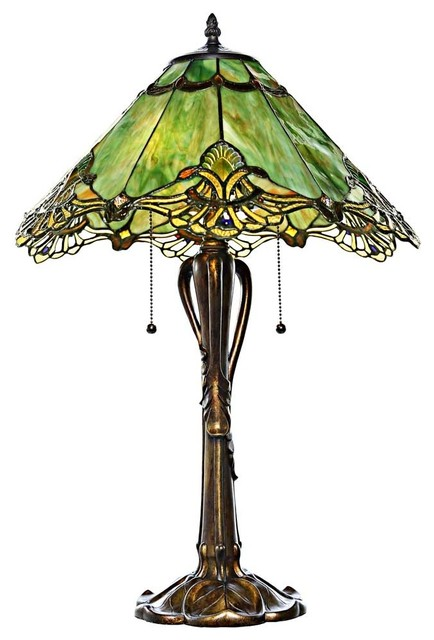 "River Of Goods 25"" Stained Glass Victorian Sea Green Crystal Lace Table Lamp."