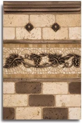 Kitchen Backsplash Metal Tiles And Decorative Accents Mediterranean Accent Trim And Border