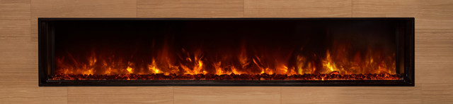 "Landscape Fullview Fireplace, Contemporary Glass Ember Kit, 80"" W."