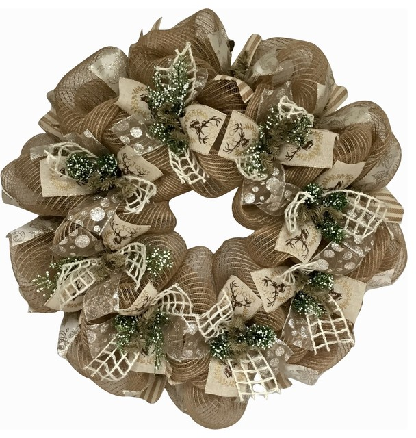 Winters Walk Ribbon Wreath Handmade Deco Mesh.