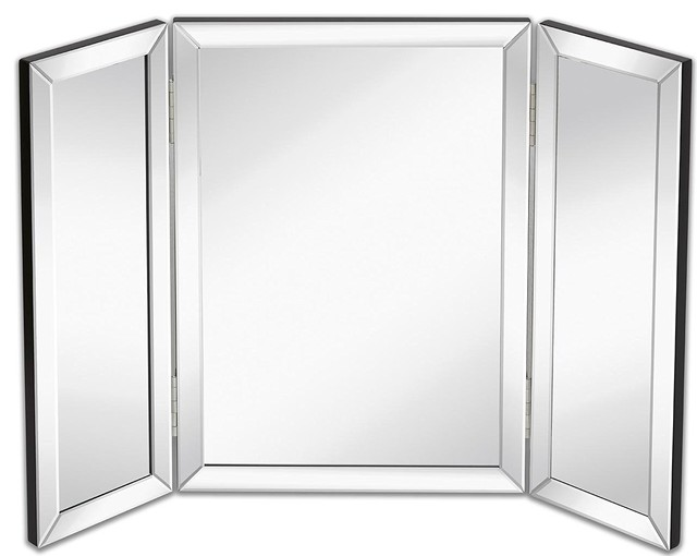 hamilton hills trifold vanity mirror solid hinged sided tri fold beveled contemporary