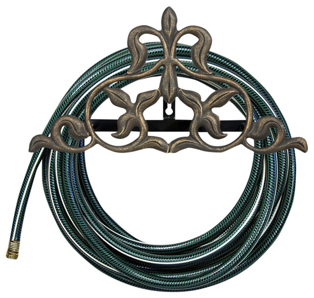 Fleur De Lis Hose Holder French Bronze Traditional Garden Reels By Whitehall Products