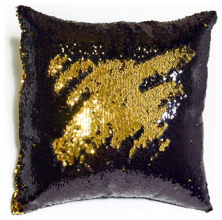 Excellent Black and Shiny Gold Sequin Mermaid Pillow - Contemporary  MS98