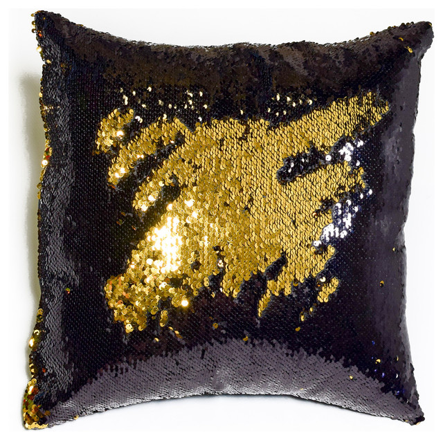Modern Gold Pillows : Black and Shiny Gold Sequin Mermaid Pillow - Contemporary - Decorative Pillows - by Mermaid ...