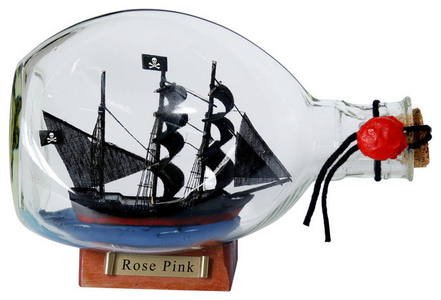 Ed Low's Rose Pink Pirate Ship in a Glass Bottle 7'' - Pirate Decoration -  Ship