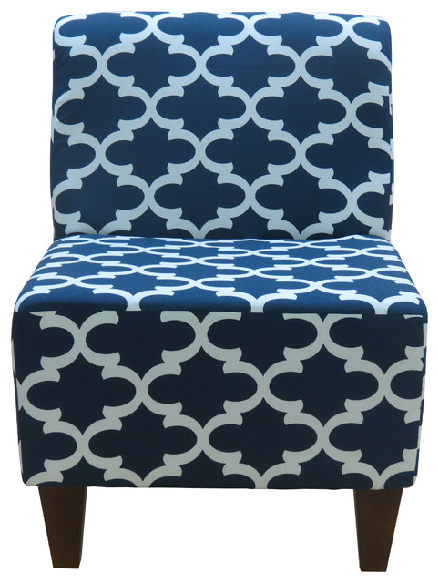 Charmant Penelope Armless Slipper Chair, Fynn Navy Blue