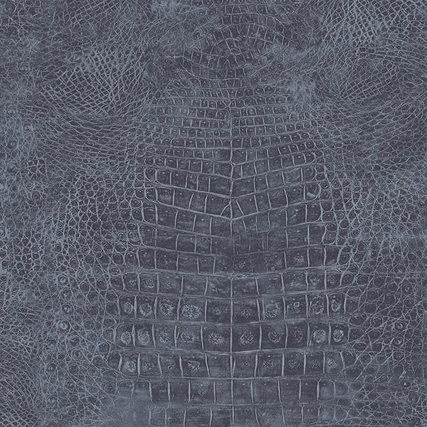 Faux Crocodile Skin Wallpaper, Navy Blue, Bolt.