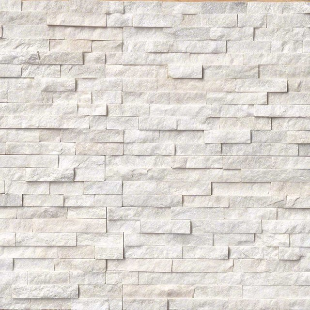 Contemporary Wall Tile arctic white ledger panel natural quartzite wall tile