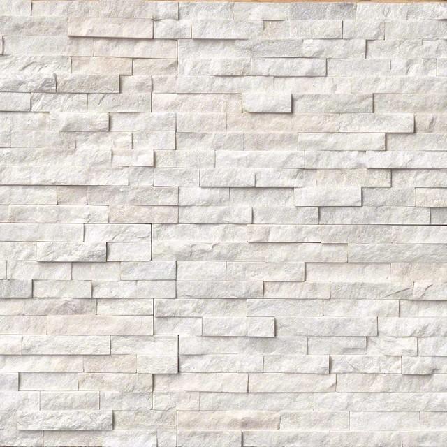 Arctic White Ledger Panel Natural Quartzite Wall Tile 30 Pieces Brick