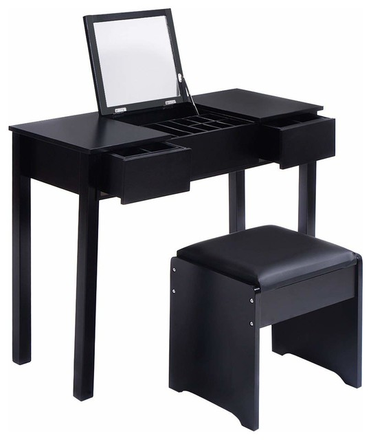 Astonishing Modern Vanity Table Set With Flip Top Mirror 2 Drawer And Padded Stool Ncnpc Chair Design For Home Ncnpcorg