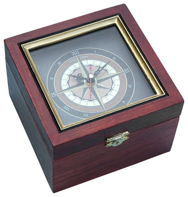 Nautical Compass Rose Clock In Wooden Box Beach Style