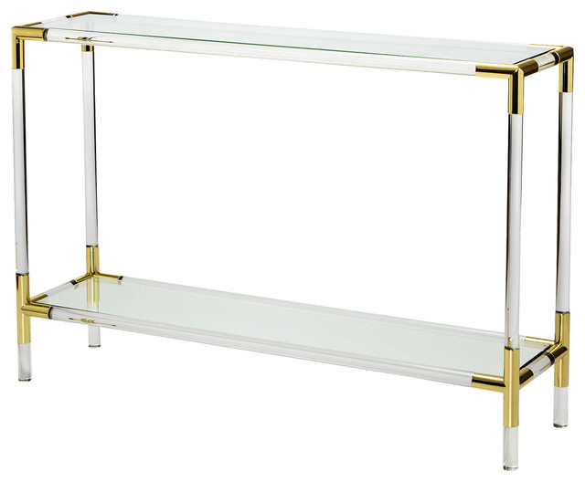 Cecil Modern Brass Corner Acrylic Console Table 48w
