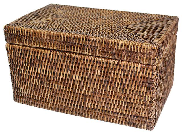Delicieux Rattan Rectangular Lidded Storage Basket