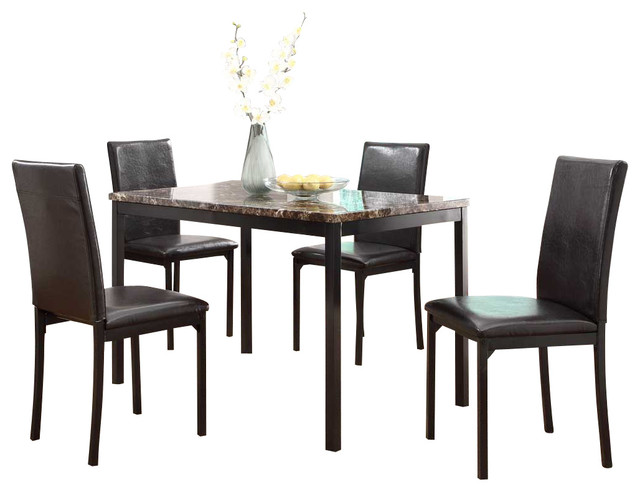 Homelegance Tempe 5 Piece Faux Marble Top Dining Room Set With Black Metal  Base