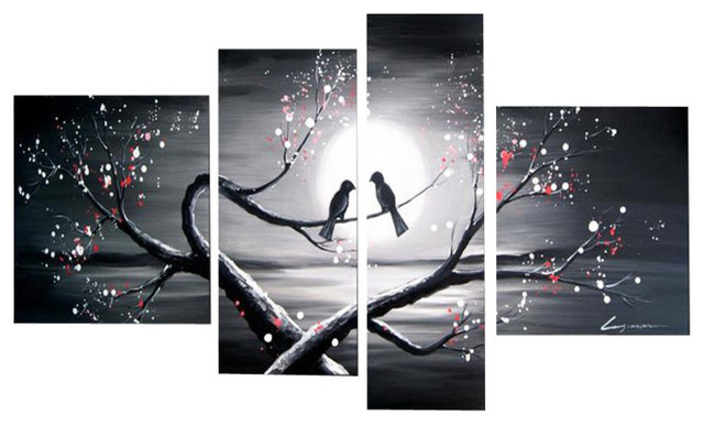 """Love Birds"" Romance Painting, 4-Panel, 66""x32"" - Modern ..."