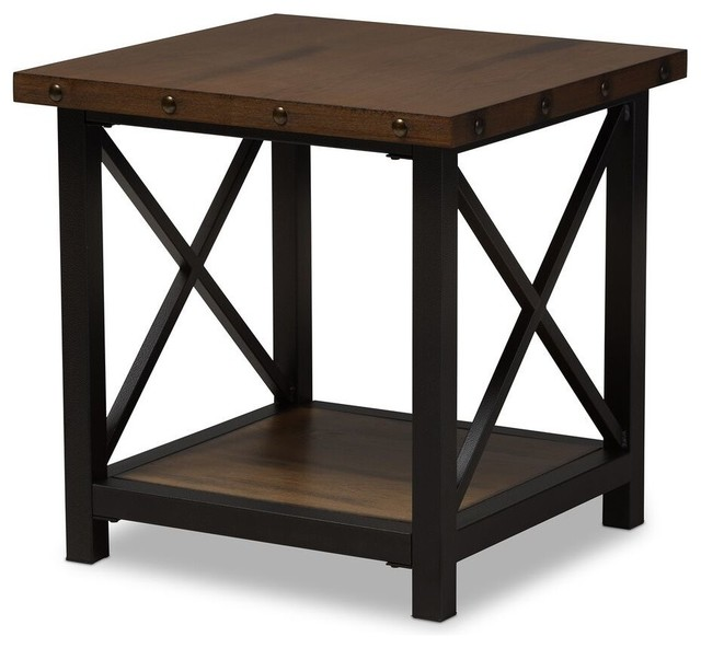 Black Textured Finished Metal Distressed Wood Occasional End Table.