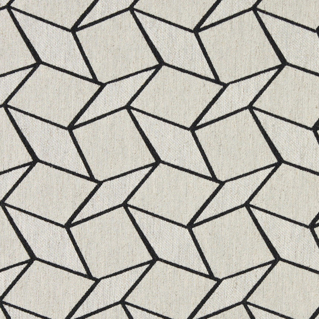 Midnight And Off White Geometric Boxes Upholstery Fabric By The Yard