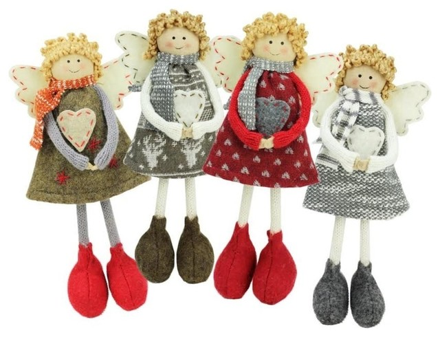 "Colorful Holiday Angel Sisters Standing Christmas Decorations, 9"", 4-Piece Set."