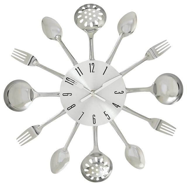 benzara fabulous metal kitchen wall clock 15d - Kitchen Wall Clocks
