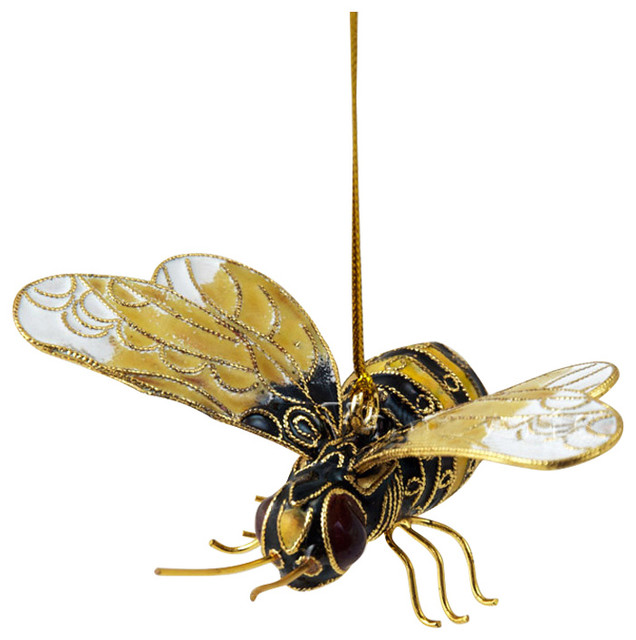 Cloisonne Bumble Bee Ornament Traditional Christmas Ornaments