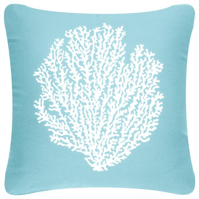 Coastal Decorative Throw Pillows : Wabisabi Green - Coral Sea Fan Coastal Throw Pillow Cover & Reviews Houzz