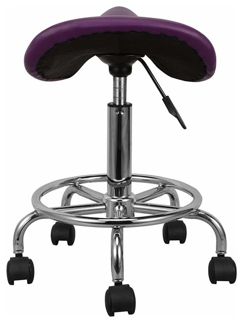 Modern Bar Stool With Chrome Frame And Purple Faux Leathered Seat Saddle Shaped Stools Kitchen By Decor Love