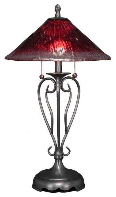 Toltec 42-BN-716 Olde Iron Table Lamp In Brushed Nickel, Raspberry Glass
